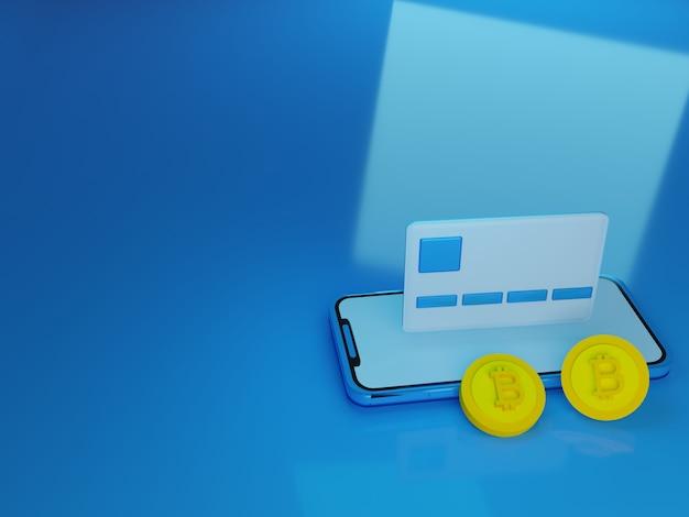 Smartphone 3d render com cartão de crédito flutuante e bitcoin na frente