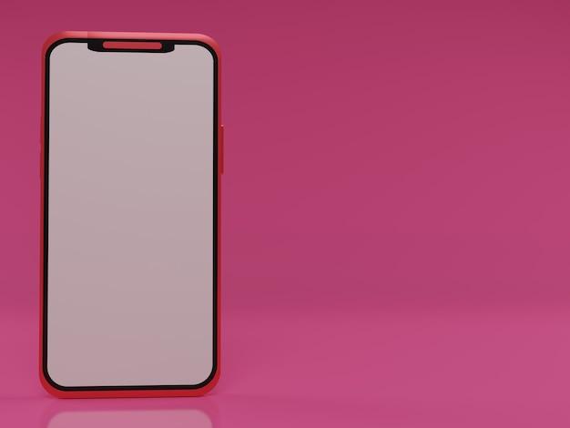 Smartphone 3d vermelho em fundo rosa