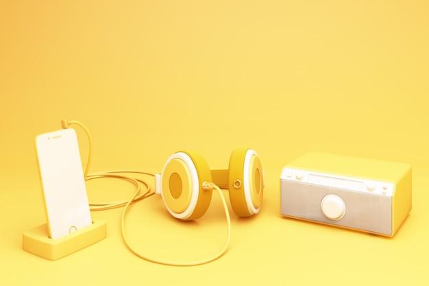 Smartphone amarelo com fone de ouvido e alto-falante renderização em 3d