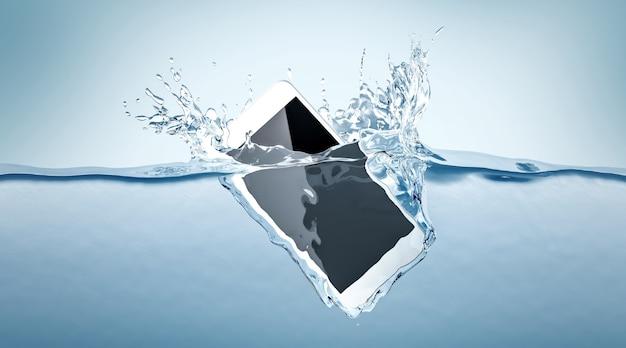 Smartphone branco cai na água