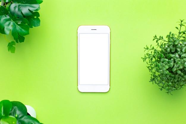Smartphone celular com tela branca e planta verde sobre fundo verde