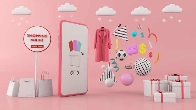Smartphone cercado por sacolas de compras e equipamentos esportivos