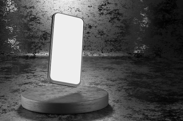 Smartphone com branco e tela para seu projeto. maquete de smartphone em um fundo escuro. renderização 3d.