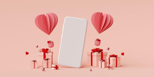 Smartphone com caixa de presente e balão em forma de coração renderização em 3d Foto Premium