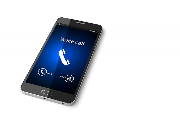 Smartphone com chamada recebida na exibição de renderização em 3d