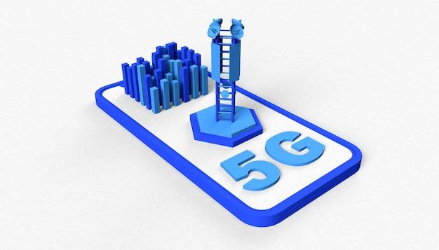 Smartphone com conceito 5g de texto, antena e edifícios nas cores azuis. ilustração 3d. redes