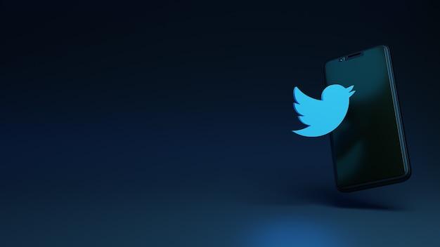 Smartphone com conceito de renderização 3d do ícone do twitter para você