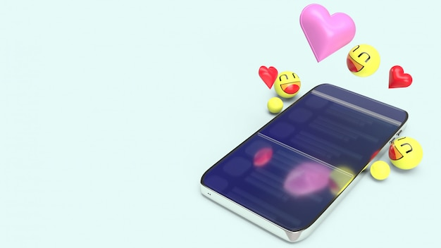 Smartphone com emojis 3d