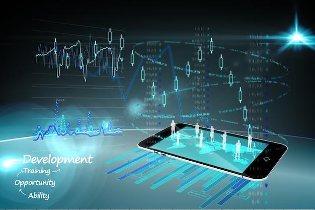 Smartphone com gráficos e ícones