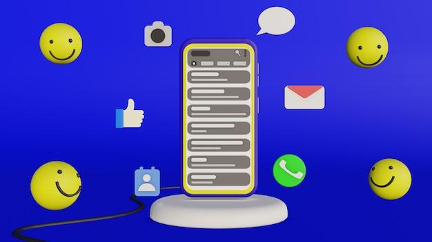 Smartphone com ícone ao redor e aplicativo de bate-papo em design 3d
