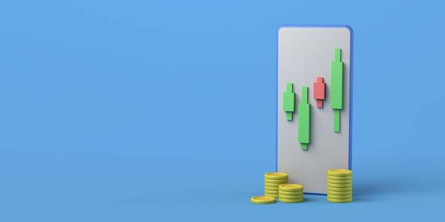 Smartphone com moedas e gráfico de velas investimento financeiro ilustração 3d copiar espaço