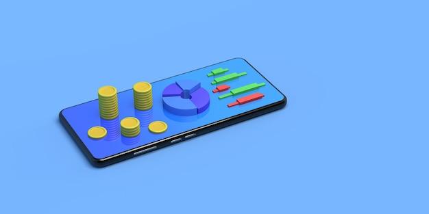 Smartphone com moedas e gráficos de velas ilustração 3d do mercado de ações copiar espaço