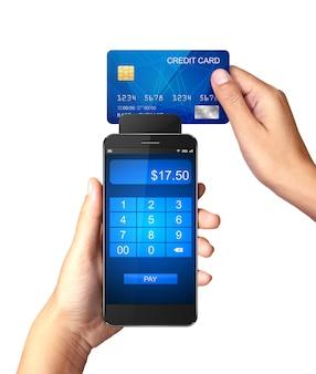 Smartphone com pagamentos do cartão de crédito