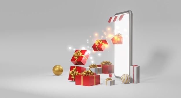 Smartphone com presentes. conceito de oferta de presente de natal, renderização em 3d