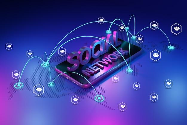 Smartphone com rede. conceito de rede social, renderização em 3d