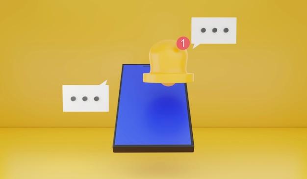 Smartphone com renderização 3d com ícone de alerta de notificação fundo amarelo tecnologia de gadget inteligente