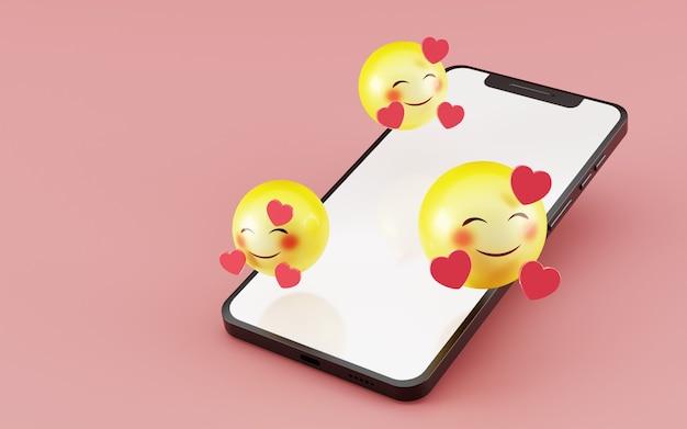 Smartphone com rosto sorridente e coração emoji 3d render