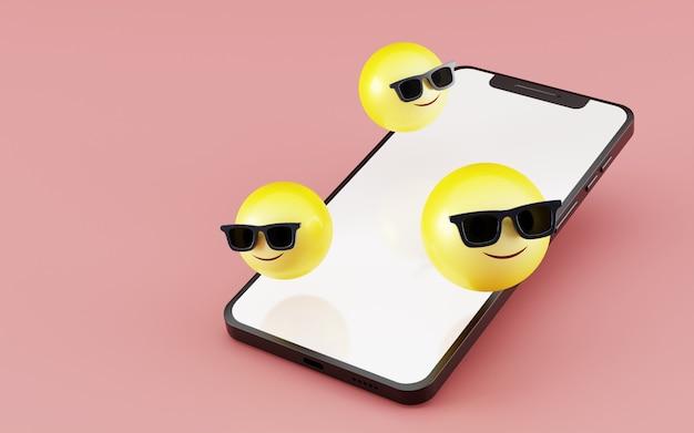 Smartphone com rosto sorridente emoji ícone renderização em 3d