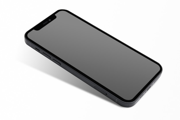 Smartphone com tecnologia futura inovadora de tela preta em branco