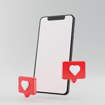 Smartphone com tela em branco com instagram como ícone 3d render