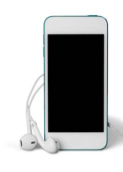 Smartphone com tela em branco e fones de ouvido