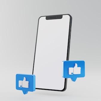 Smartphone com tela em branco e ícone como o facebook renderização em 3d Foto Premium