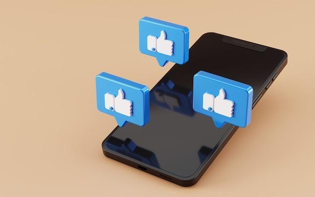 Smartphone com tela preta e ícone como o facebook renderização em 3d