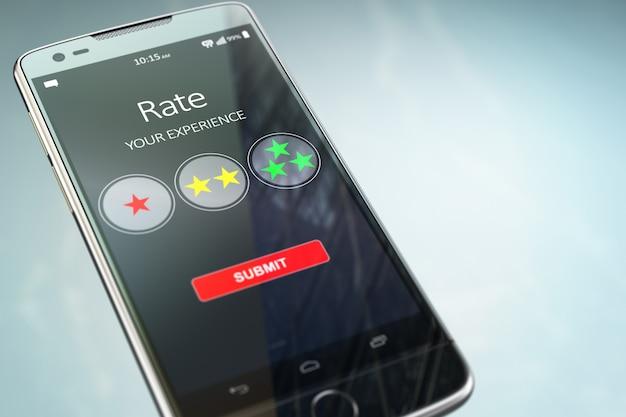 Smartphone com texto avalie sua experiência na tela