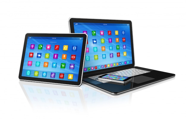 Smartphone, computador tablet digital e laptop