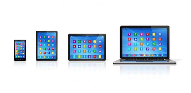 Smartphone, computador tablet digital e laptop