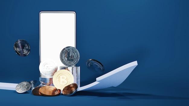 Smartphone de renderização 3d com moedas de criptografia de prata, bronze e seta crescente sobre fundo azul.