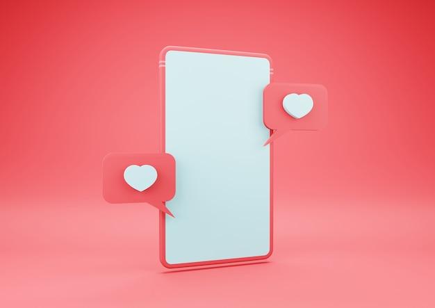 Smartphone de renderização 3d com o ícone de um coração na tela em branco. conceito de dia dos namorados.