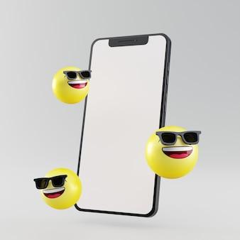 Smartphone de tela em branco com ícone de emoji de rosto sorridente renderizado em 3d