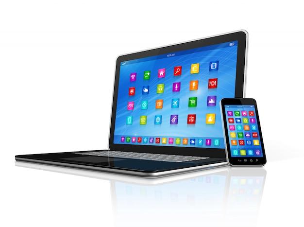 Smartphone e computador portátil
