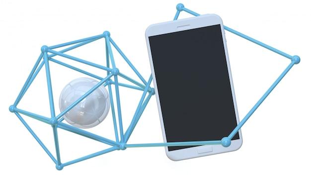 Smartphone e esfera dentro das linhas conectadas
