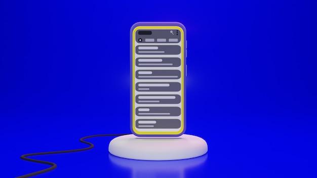 Smartphone em suporte e cabo com aplicativo de bate-papo em design 3d
