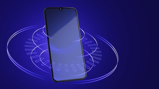 Smartphone em um fundo azul abstrato com linhas. conceito de mundo digital. renderização 3d.
