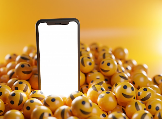 Smartphone entre um monte de emoticons de sorriso. renderização 3d do plano de fundo do conceito de mídia social