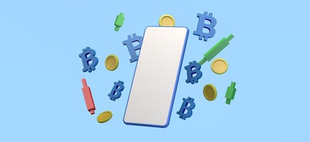Smartphone flutuando com tela em branco com gráficos de velas de moedas e ilustração 3d de bitcoin