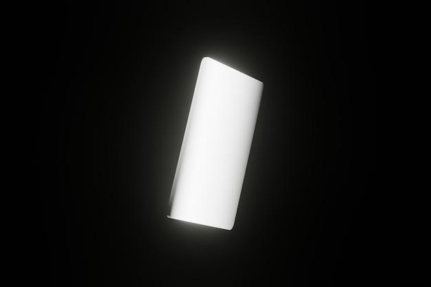 Smartphone geométrico com tela branca em branco led brilhante em fundo preto renderização 3d