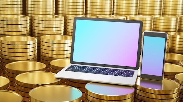 Smartphone móvel e computador laptop colocados nas fileiras de moedas de ouro