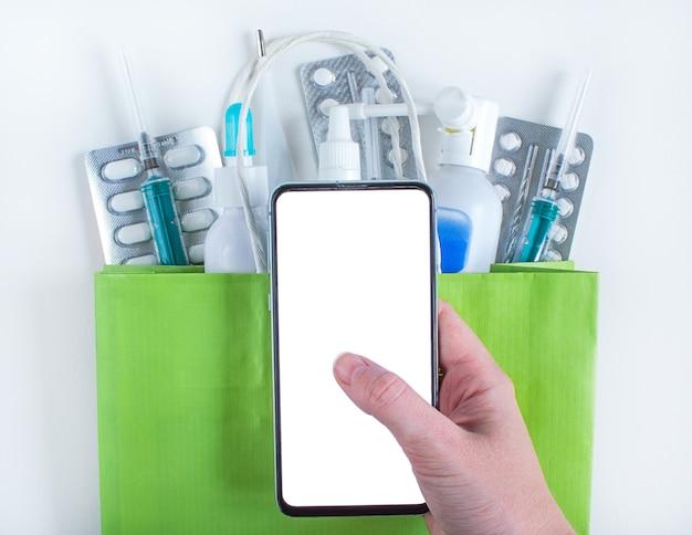 Smartphone para encomenda online de medicamentos