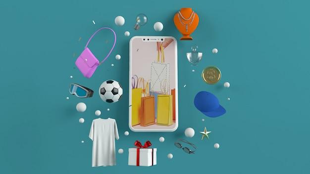 Smartphone para inserir conteúdo rodeado por sacolas, carrinhos de compras, renderização em 3d
