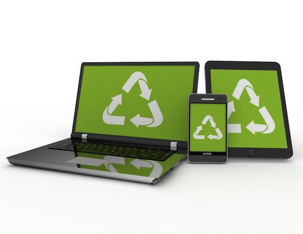 Smartphone portátil e tablet pc com placa de reciclagem. ilustração renderizada 3d