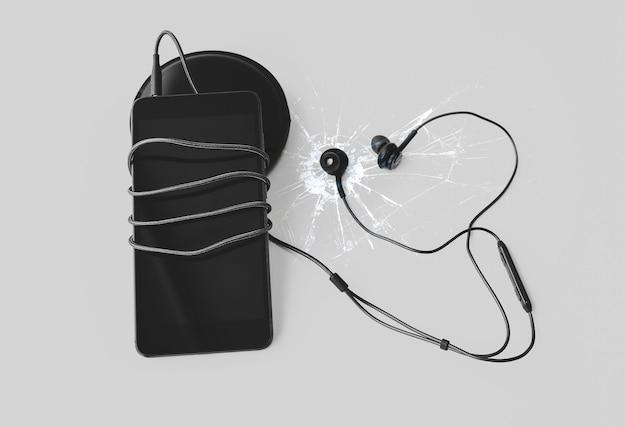Smartphone preto com fones de ouvido está deitado no fundo branco. conexão de tecnologia moderna. célula digital.