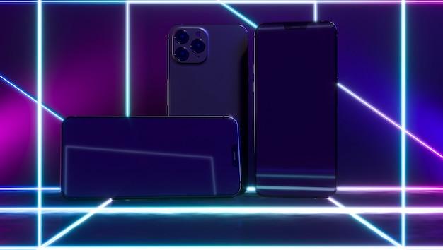 Smartphones com linhas de luz neon