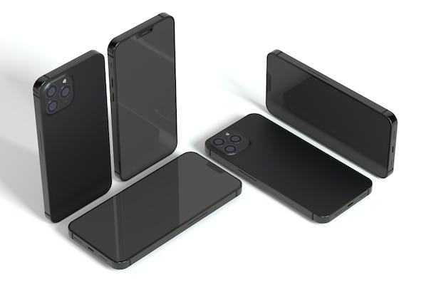 Smartphones de alto ângulo em fundo branco