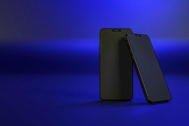 Smartphones em fundo azul escuro
