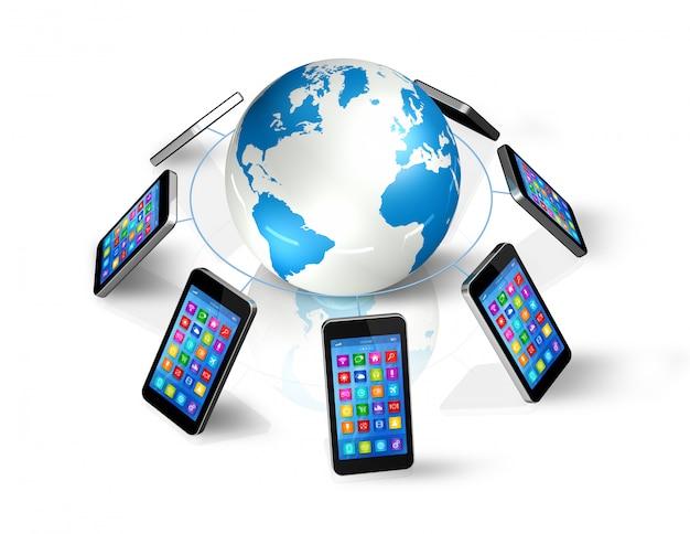 Smartphones em todo o mundo, comunicação global
