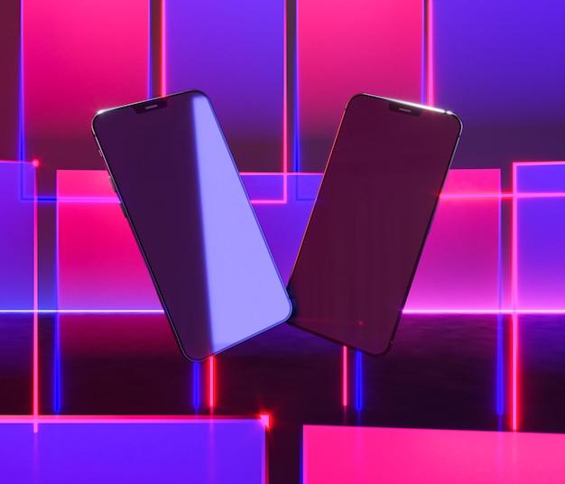 Smartphones flutuantes com luz neon